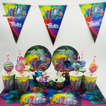 Party supplies 74pcs for 12kids Trolls theme birthday party tableware set, plate+cup+straw+tablecover+banner+wrapper+invitation(China)