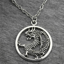 Wholesale 20pcs 37*32mm Antique Silver Color Dragon Pendant Short/Long Chain Necklace, Vintage Jewelry Gift For Women(China)