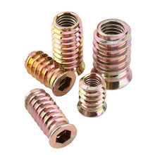 20Pcs/Lot Carbon Steel Hex Socket Drive Insert Nuts Threaded For Wood Furniture(China)