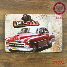 Motel! car signs vintage metal tin plate wall decoration for home bar cafe garage and so on