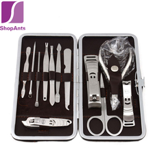 12 PCS/set Nail Art Manicure Tools Set Nails Clipper Scissors Tweezer Knife Manicure Sets Stone Pattern Case For Nail Manicure