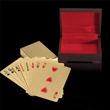 Entertainment Richly Plated in 24K Gold 54Pcs Poker Playing Cards With Wooden Box New Year Ideal Gifts for Card Lovers Friends(China)