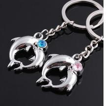 100pairs/lot fedex fast free shipping romantic style dolphine keychain woman man dolphine key ring valentine keychain