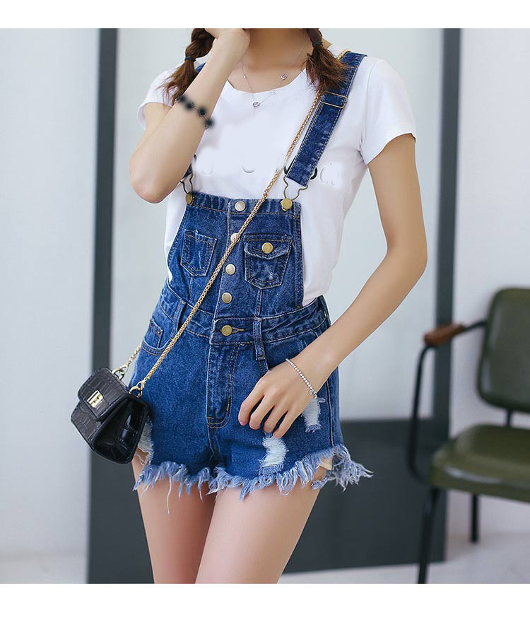 Denim Bibs Schoolgirl 2018 Spring New Loose Korean Thin Thin hole Flashes Fringe Shorts (9)