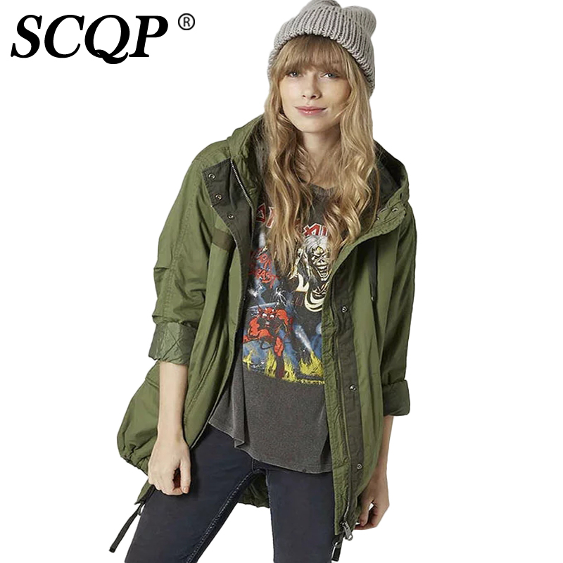 SCQP Hooded Zipper Army Green Woman Coat Loose Long Sleeve Ladies Jacket Winter Women Casual Fashion 2017 Parkas JacketsОдежда и ак�е��уары<br><br><br>Aliexpress