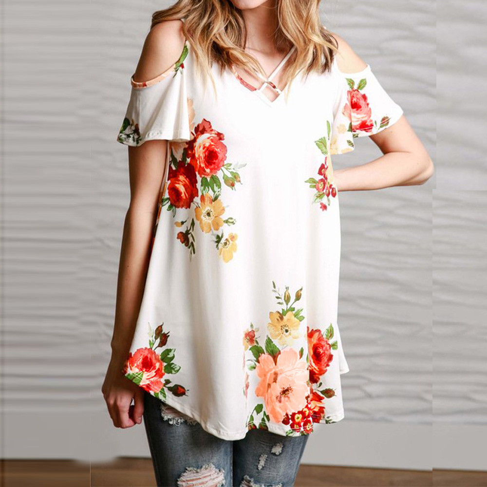 New 2018 Spring Summer Tops Women Short Sleeve Sexy Casual T-shirt Print Slim Off Shoulder T-shirt Flowers Print Tops T-shirt 22