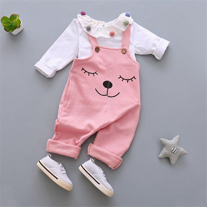 2016 hot sale baby girl clothing sets fashion white turn-down collar t-shirt and cartoon pattern suspenders pants for autumn<br><br>Aliexpress