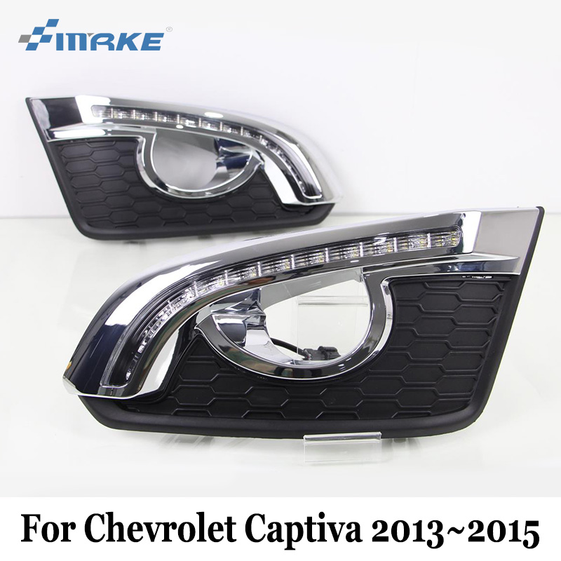 SMRKE DRL Chevrolet Captiva 2013~2016 / 12V Car LED Daytime Running Lights / 2 Color Auto Day Driving Light / Fog Lamp Frame