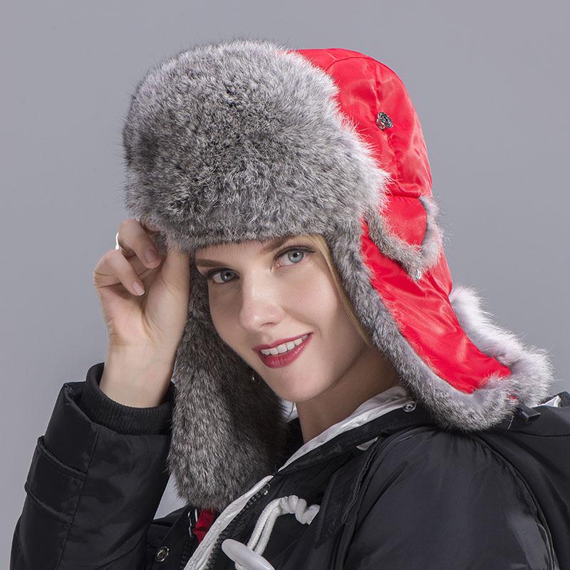 rabbit fur hat women red 4 1