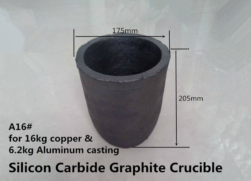A16# Silicon Carbide Graphite Crucible for 16kg copperr &amp;  6.2kg aluminum       / SiC Graphite Crucible for copper melting<br>