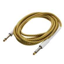 Guitar Cable 3M/10FT Guitar Cable Cord Yellow Wove Guitar Lines Golden Tipped Plugs Connectors For Bass Guitar Parts&Accessories