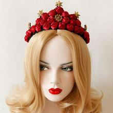 Unique Design Hand Made Queen Rose Crown Headbands Bride Personality Hair Band Female Festival Flower Luxury Hair Accessory(China)