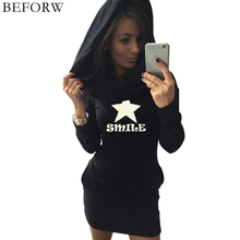 BEFORW 2017 Autumn And Winter Women Hooded Dress Fashion Printing Long Sleeves Dressess Black Gray Womens Clothing Dress(China)