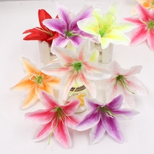1pcs Silk Gradually Orchid Artificial Flower Wedding Home Decorative Flower Head DIY Wreath Gift Cut & Clip Craft Fake Flower