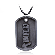 Jewelry God Necklace Joshua 1:9 Be Strong And Courageous Bible Verse Scripture Letter Bold Dog Tag Necklaces Christian Men Gift(China)