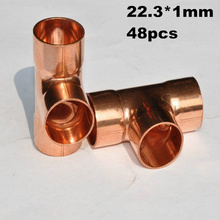 48pcs 22.3mm Copper fitting Equal Tee For Plumbing Soldering, End Feed Fitting Copper Fitting TEE C x C x C