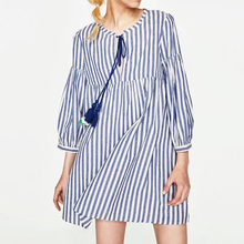 Buy 2017 Fashion Women Clothing Dress Striped Tassel Short Mini Dress Three Quarter Sleeve Casual Line Ladies Party Dresses for $21.85 in AliExpress store