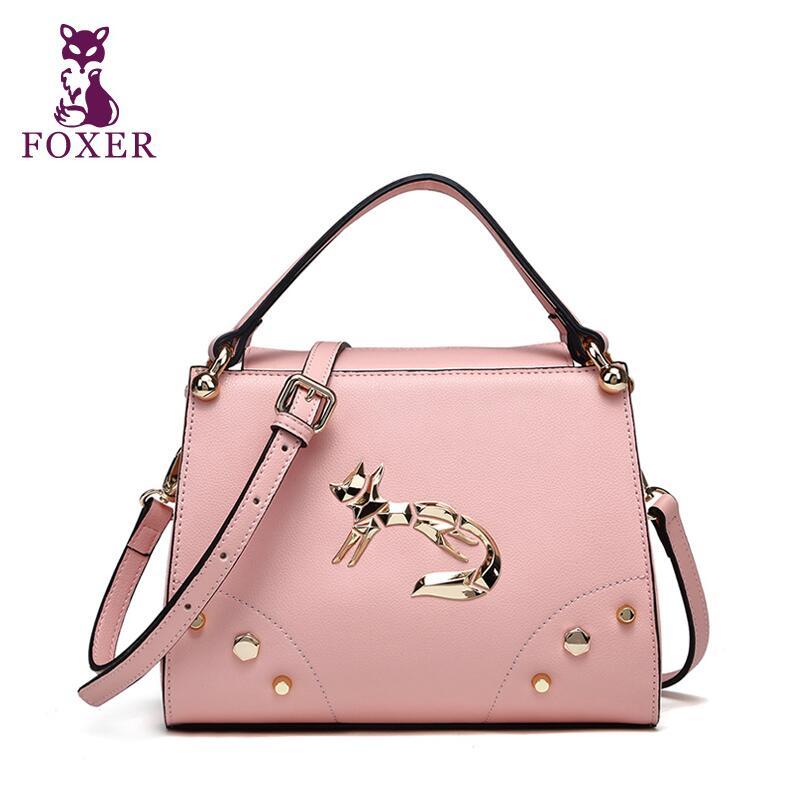 FOXER brand women bag 2016 new  leather bag fashion quality women handbags shoulder cowhide rivet kitten bag<br><br>Aliexpress