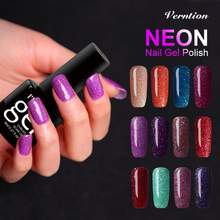 Verntion lucky Colors Glitter Neon Gel Nail Polish Soak Off UV Nail Art for Long-lasting Gel Polish Top Base Glue Varnish