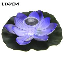 0.1W Solar Powered Multi-colored LED Lotus Flower Lamp RGB Water Resistant Outdoor Floating Pond Night Light for Garden Pool