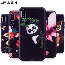 JFWEN For Apple iphone X Case Silicone 3D Relief Cut Cartoon Panda Butterfly Phone Cases For iphone X Case Soft TPU Back Cover