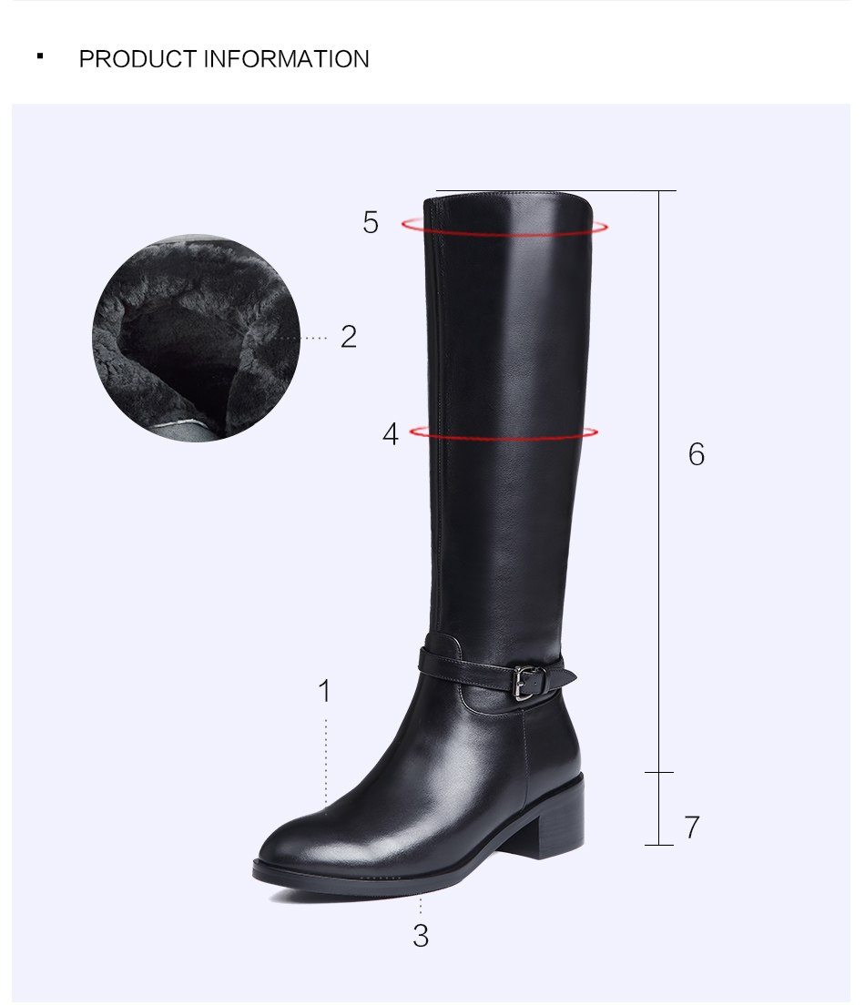 Donna-in Winter Boots Women Fashion Fur Warm Boots New Knee High Boots Real Leather Women Shoes Round Toe Heel Black Ladies 2018 (18)
