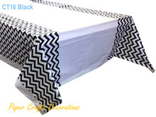 "108*180cm (70"" * 43"") Black Chevron Plastic Tablecloths Table Cover Wedding Holiday Party Decorations(China)"