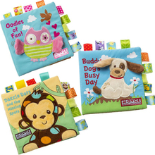1 Pcs Baby Soft Activity Early Book Animal Style Monkey/Owl/Dog Newborn Baby Toys Learning Embroidered Cloth Book