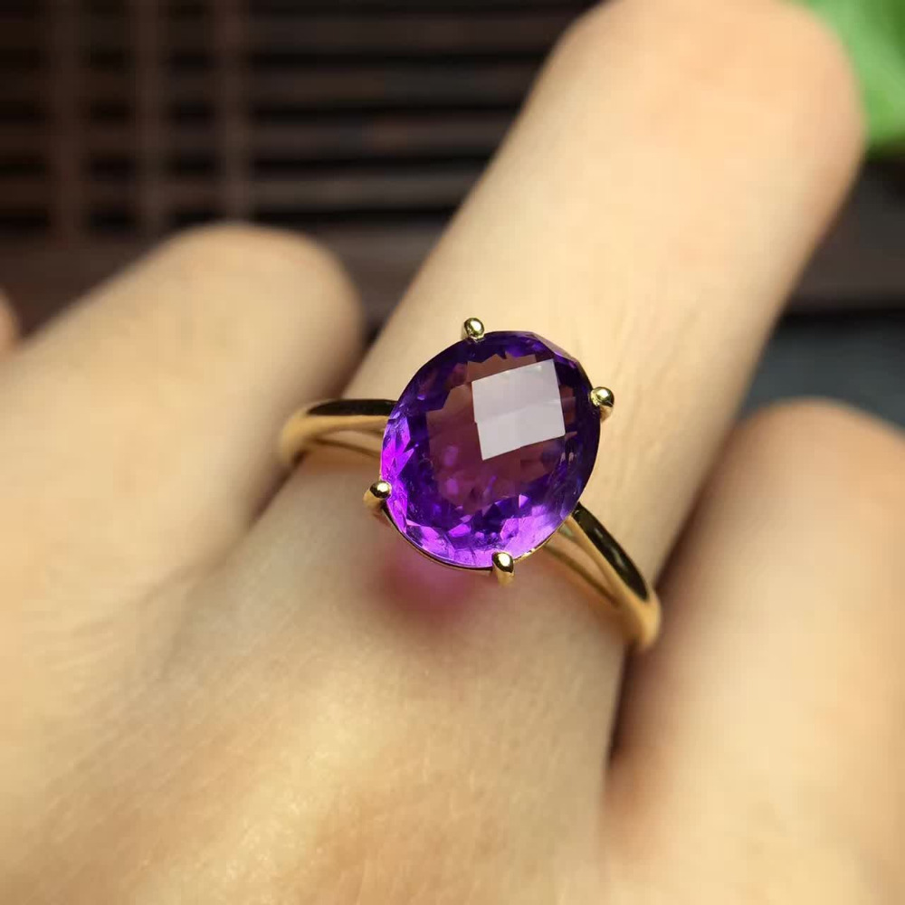 8*10mm gems 2.75ct gold weight 1.42g certificated 18k gold natural purple crystal amethyst ring(China)