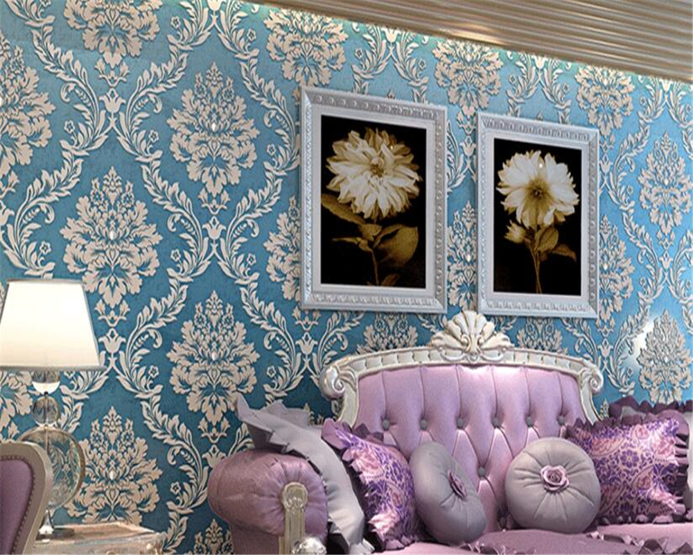 beibehang Luxury personality TV background wallpaper bedroom living room Damascus thick three-dimensional non-woven 3d wallpaper<br>