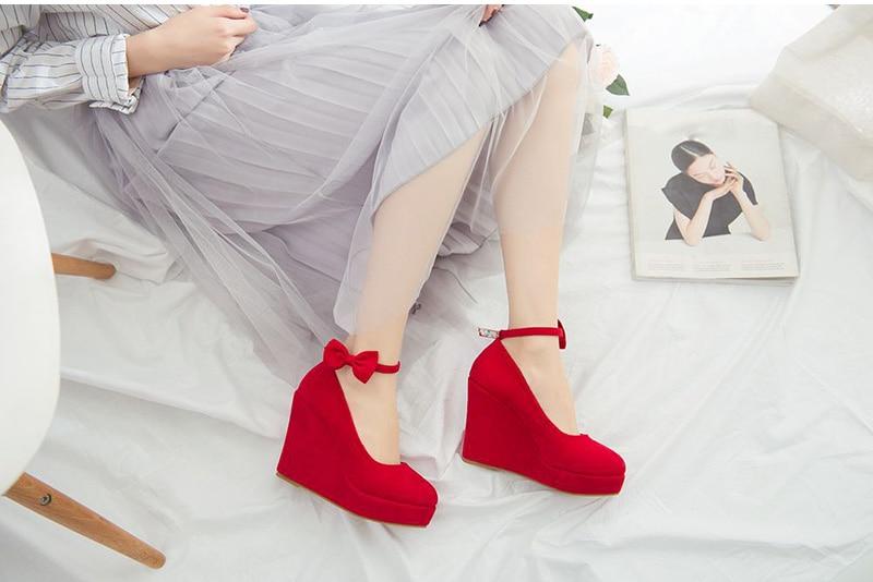 MCCKLE Women High Heels Shoes Fashion Buckle Wedges 2017 Ladies Platform Buckle Bowtie Pumps For Woman Plus Size sapato feminino