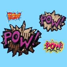 POW logo Letter Sequined Patches Big Badge Brand Name sticker Cartoon Motif Applique Children Clothes Clothing Embroidered Patch(China)