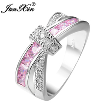 JUNXIN Female Pink Cross Ring Fashion White & Black Gold Filled Jewelry Promise Engagement Rings For Women Birthday Stone Gifts(China)