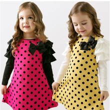 2017 Limited Promotion Cute Kids Girls Dresses Children's Clothing Baby Frock Designs Dots Full Princess Clothes tutu Girl Dress(China)