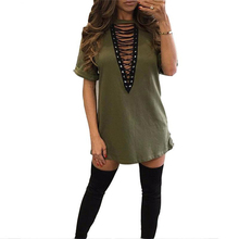 Sexy Hollow Out Lace Up V Neck Dress Women Short Sleeve Loose Mini Shirt Dress 2016 Fashion Casual Straight Ladies Dresses