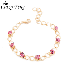 New Fashion Gold-color Pink Crystal Beads Chain Bracelet Cubic Zirconia Rhinestone Bracelets For Women Cheap Jewelry Gift
