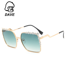 DAVE Fashion Vintage Square Sunglasses Women Original Brand Designer Oversized Sun Glasses Female Classic Ladies Eyewear UV400(China)