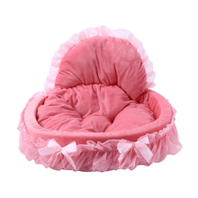 Hot New High Quality Circular Dog House Lace Princess Puppy House Pet Lace Nest Pet Kennel Cat Dog Beds Luxury Cat Sofa Dog Nest