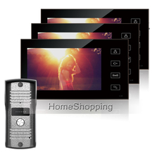 "FREE SHIPPING New 7"" Color Screen Video Door phone Intercom System + 3 Touch Monitors + 1 Waterproof Doorbell Camera IN STOCK"