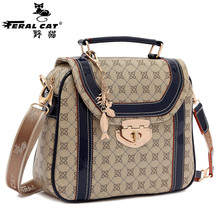 FERAL CAT Women Satchel Bags 2017 New Handbag Women's Hasp Tote Fashion Designer Famous Brand High Quality  3010