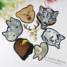 1 PCS Giraffe Animal Clothes Embroidered Iron on Patches for Clothing DIY Stripes Motif Appliques Garment Wolf parches @QQ