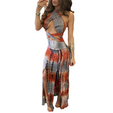 Sexy Backless Halter Dress Summer Style Fashion Tie Dye Printed Maxi Long Dresses Women Cross Bandage High-split Tight Dress