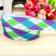 7/8'' Free shipping plaid printed grosgrain ribbon hairbow headwear party decoration diy wholesale OEM 22mm P5019