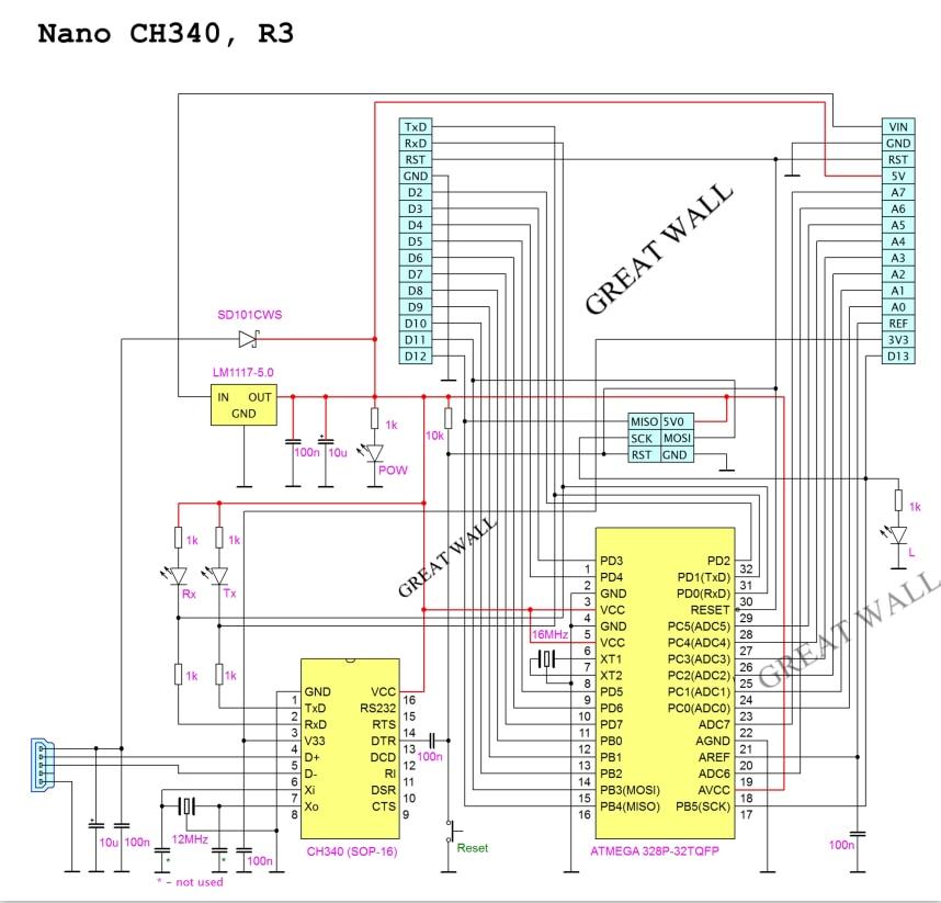100PCS Nano 3.0 ATMEGA328P controller compatible with for nano CH340 USB driver 16Mhz NO CABLE fro arduino 3