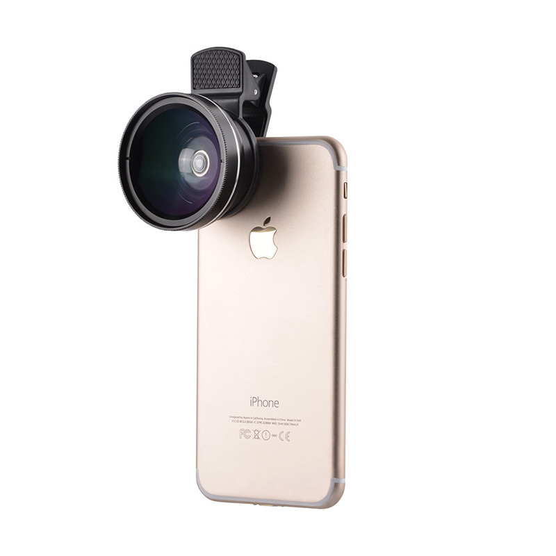 37mm 0.45X Super Wide Angle Lens 12.5X Macro Lens Clip For iPhone Xiaomi Samsung Cell Phone Lens 2 in 1 Camera Lens Kit 5