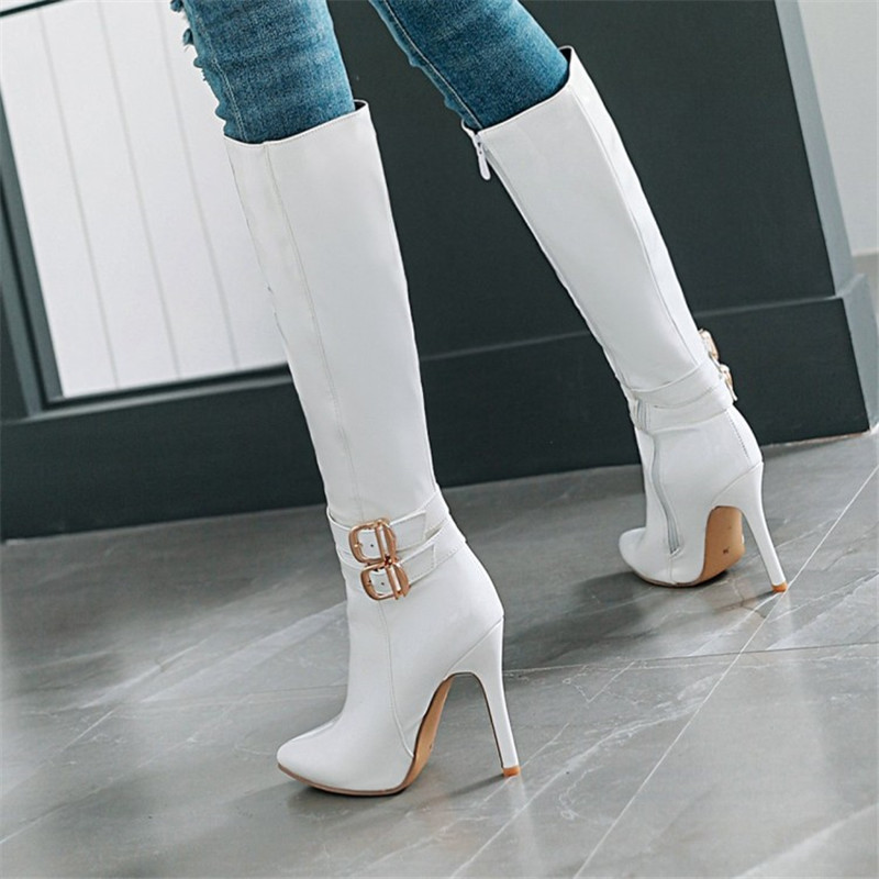10CM Extreme High Heels Boots Fashion Pole Dancing Knee-High Boots Side Zip Ladies Knee Boots Plus Size 33-48 Woman Winter Shoes (6)