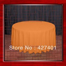 "Hot Sale  132"" R Pumpkin Round Table Cloth Polyester Plain Table Cover for Wedding Events &Party Decoration(Supplier)"