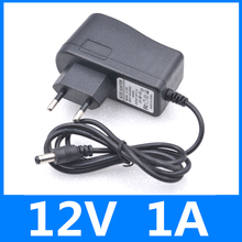 AC DC Adapter DC 12V 1A AC 100-240V Converter Adapter Charger Power Supply EU Plug Black Free shipping