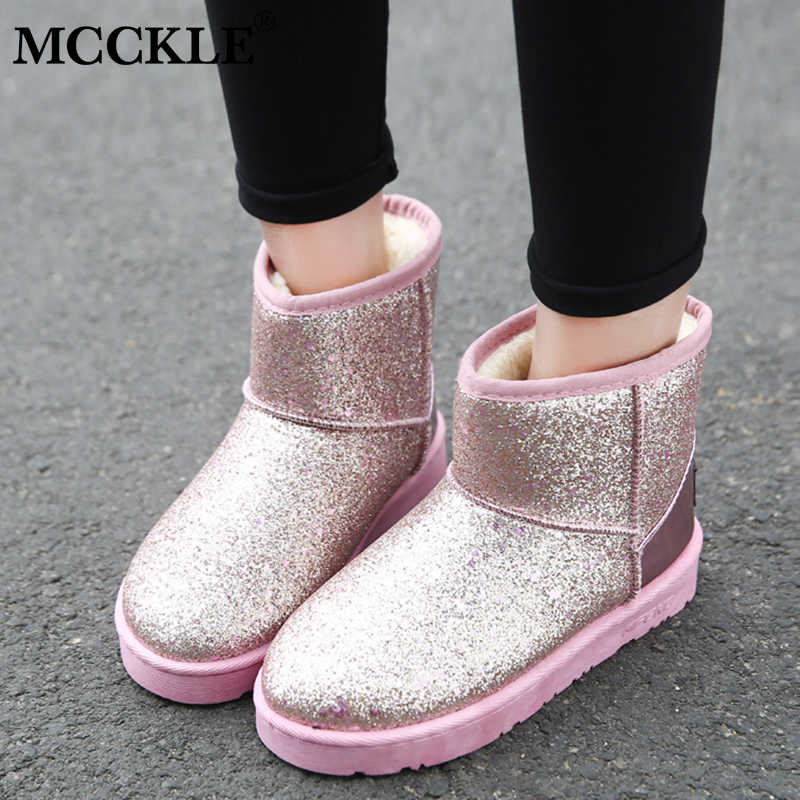 MCCKLE Women Snow Boots Bling Female Short Boot Warm Flat Shoes Casual Slip  On Footwear Ladies 6a589f256516