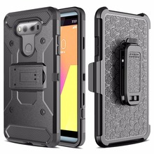 Keysion Case for LG V20 PC + Silicone Heavy Duty Military Anti Shock Protection Belt Clip Strap Armor Cover For LG V 20